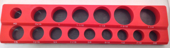 "1/2"" Drive 15pc Magnetic SAE Socket Holder 6 Deep 9 Shallow 1 Adapter"
