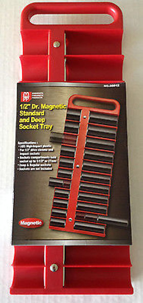 """1/2"""" Dr Magnetic Standard and Deep 22pc Socket Tray - Choice of Red or Black"""