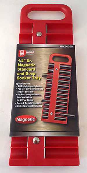 """1/4"""" Dr Magnetic Standard and Deep 22pc Socket Tray - Choice of Red or Black"""