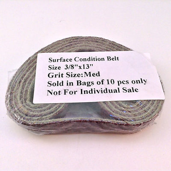 "10pk Medium Grit Surface Condition Belts 3/8""x13"" Air Sander Sanding Belts"