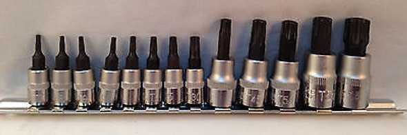13pc Heavy Duty Master Tamper Proof Torx Bit Set w/Clip Organizer