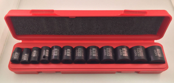 "13pc 3/8"" Dr. SAE 6pt Point Shallow Impact Sockets Set"