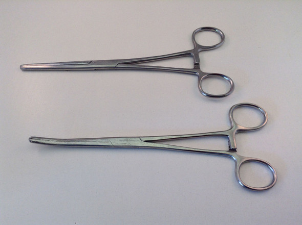 """2pc 8"""" Curved & Straight Hemostat Forceps Clocking Clamps Stainless Steel"""