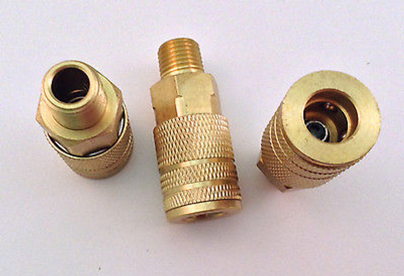 "3pc Set 1/4"" NPT Male Air Line Hose Style ""M"" Quick Connect Coupler"