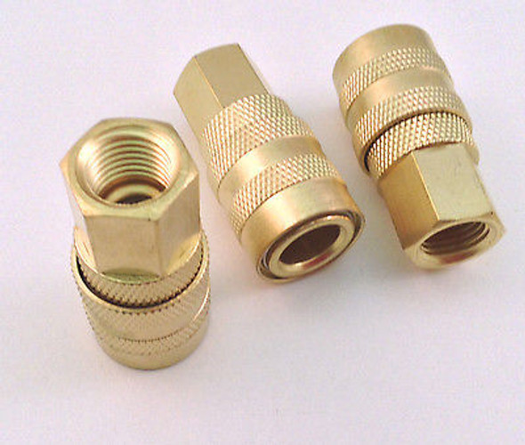 "3pc Set 1/4"" NPT Female Style ""M"" Air Line Hose Quick Connect Coupler"