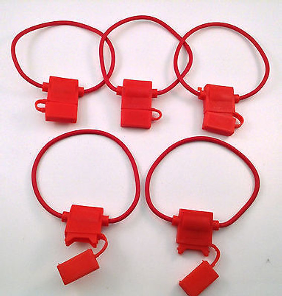5 PACK 10 GAUGE ATC FUSE HOLDER IN-LINE AWG WIRE COPPER 12 VOLT POWER BLADE PCS