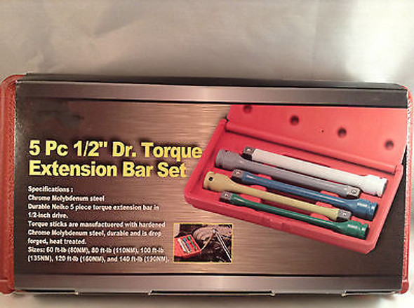 5pc 1/2'' Dr. Torque Limiting Extension Bar Set Torque Stick Torque Bar