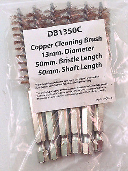 "6PC 13MM 4"" COPPER HEX ROUND SPIRAL WIRE TUBE CLEANING BRUSH DB1350C"