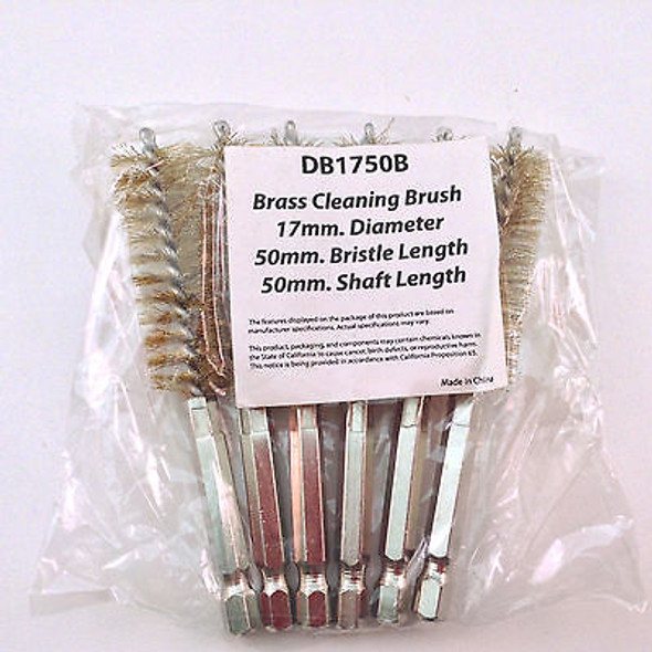 "6PC 17MM 4"" BRASS HEX ROUND SPIRAL WIRE TUBE CLEANING BRUSH DB1750B"