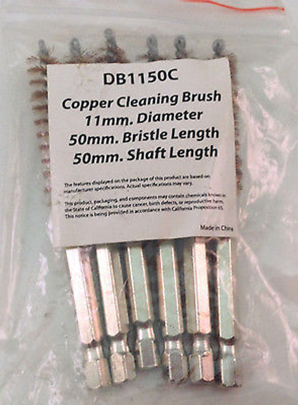 """6PC 11MM 4"""" COPPER HEX ROUND SPIRAL WIRE TUBE CLEANING BRUSH DB1150C"""