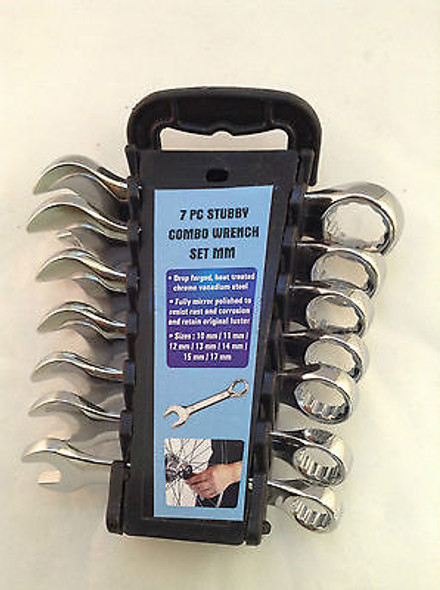 7PC Stubby Combo Wrench Set With Holder Choice of SAE or Metric