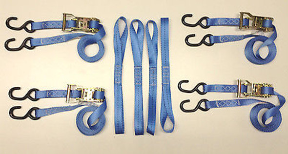 """8 pc Heavy Duty Motorcycle, ATV Ratcheting 1""""x10' Tie-Down Strap Kit Color Blue"""