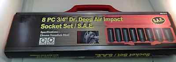 "8pc 3/4"" Dr. Deep Air Impact Socket Set SAE"