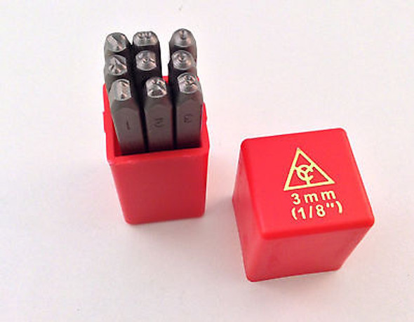 """9pc 1/8"""" 3MM Number Stamp Punch Set Hardened Steel, Metal Wood Leather"""