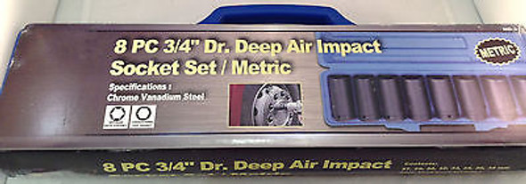 "8pc 3/4"" Dr. Deep Air Impact Socket Set Metric"