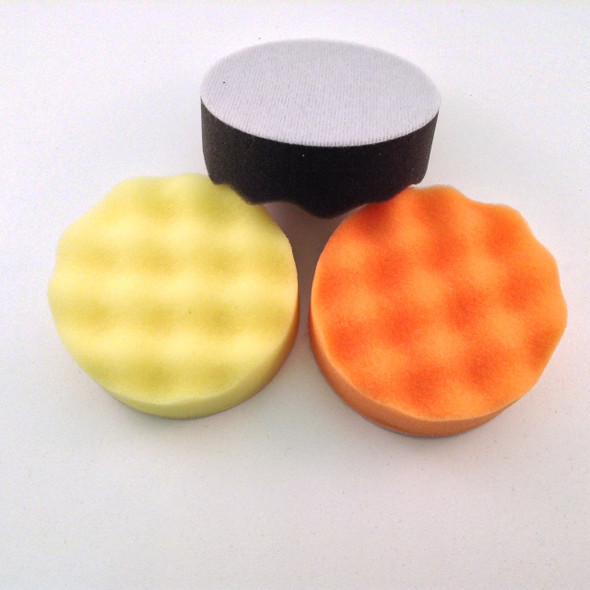 "3"" Foam buffing and polishing pads Velcro® backed set of 3 (Fine, Coarse, & Finishing)"