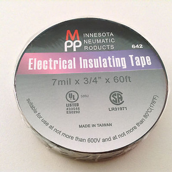 "Electrical Insulating Tape 7mm x 3/4"" x 60ft UL Listed - 10 Rolls"