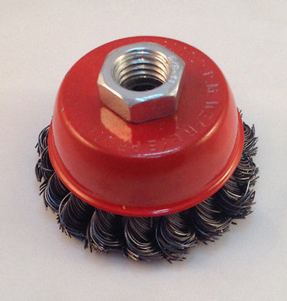 """Knotted Wire Cup Brush 3"""" Twisted Wire"""