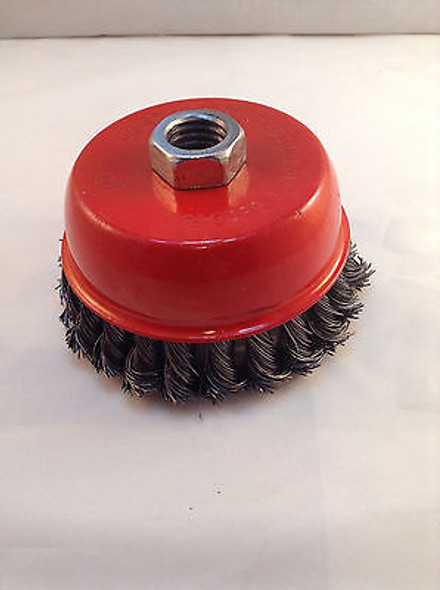 """Knotted Wire Cup Brush 4"""" Twisted Wire"""