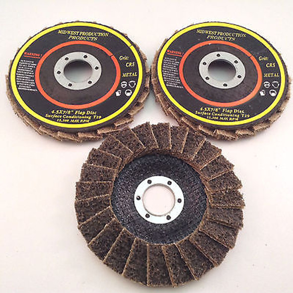 "Premium 4.5""x7/8"" Coarse Grit Surface Conditioning T29 Flap Discs - 3 discs"