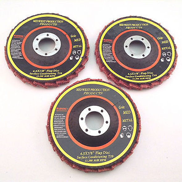 "Premium 4.5""x7/8"" Medium Grit Surface Conditioning T29 Flap Discs - 3 discs"