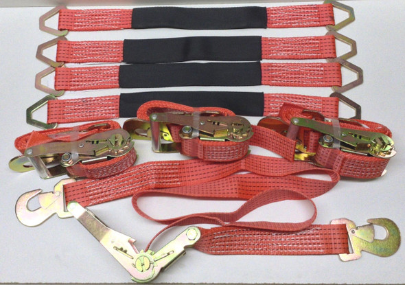 8pc Heavy Duty Tie Down Kit - 4 Ratcheting Straps & 4 Axle Straps - Red