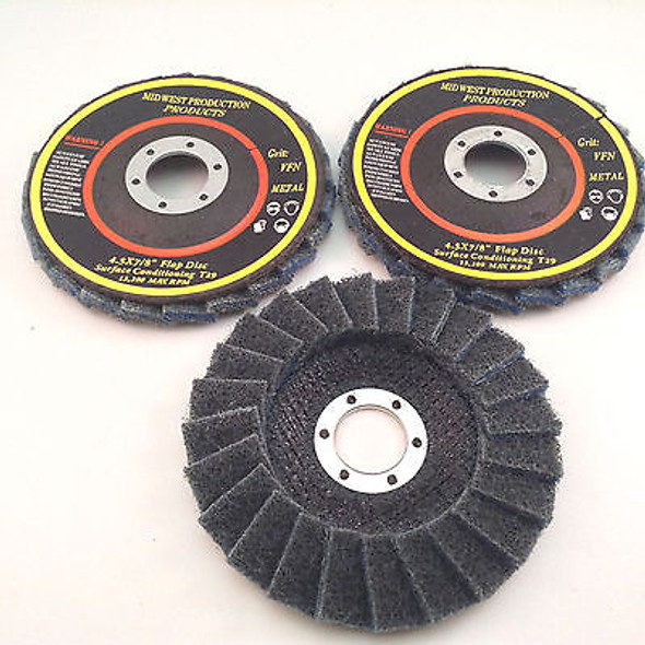 "Premium 4.5""x7/8"" Very Fine Grit Surface Conditioning T29 Flap Discs - 3 discs"