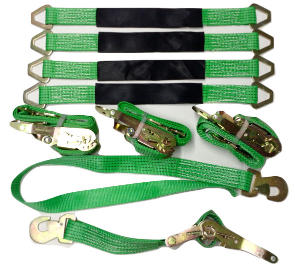 4 Axle Straps Car Hauler Trailer Auto Tie Down 4 Ratchet Straps Tow Kit Green Image1