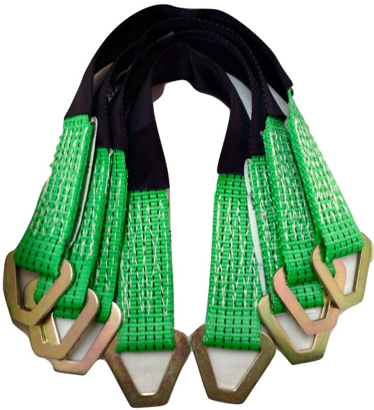 4 Axle Straps Car Hauler Trailer Auto Tie Down 4 Ratchet Straps Tow Kit Green Image3
