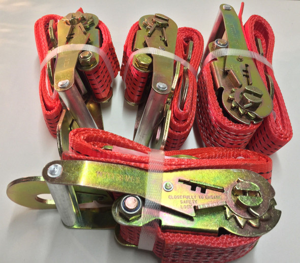 Set Of 4-6ft Ratchet Tie Down Straps w/Flat Hooks Red
