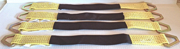 Set of 4 Heavy Duty Axle Straps - 3,335(lbs) working Load Limit - Yellow