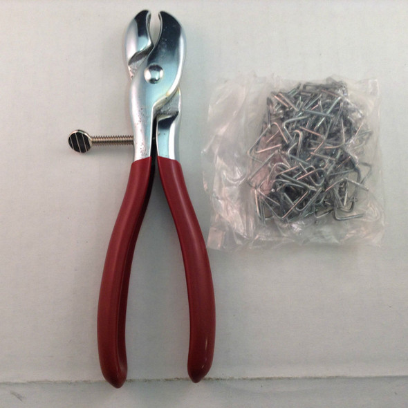 "Hog Ring Pliers with 100-3/4"" Hog Rings Seat Covers, Upholstery, Fences, Cages"