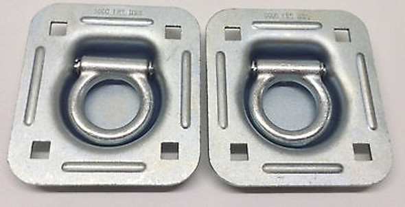 "Recessed D Rings Tie Down Brackets 4"" x 4"" Quad Trailer Cargo 5,000 lbs - Choose Qty of 2, 4, 6, or 8"