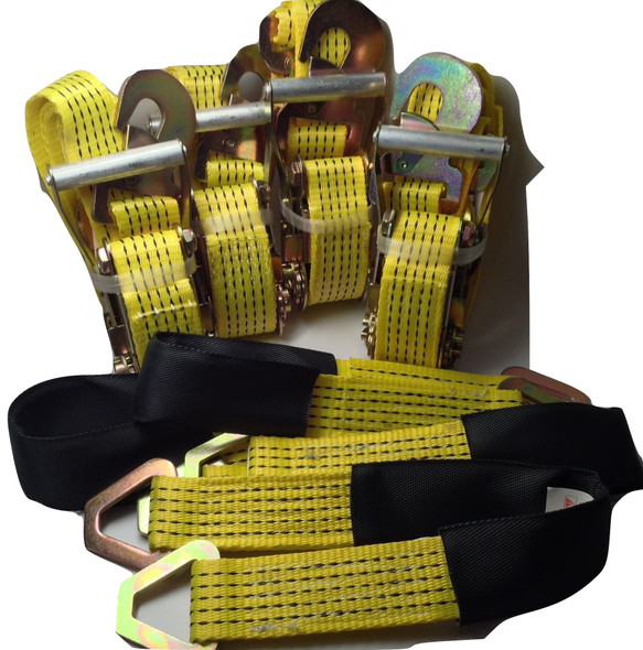 4 Ratchet Straps Car Hauler Trailer Auto Tie Down 4 Axle Straps Tow Kit Yellow
