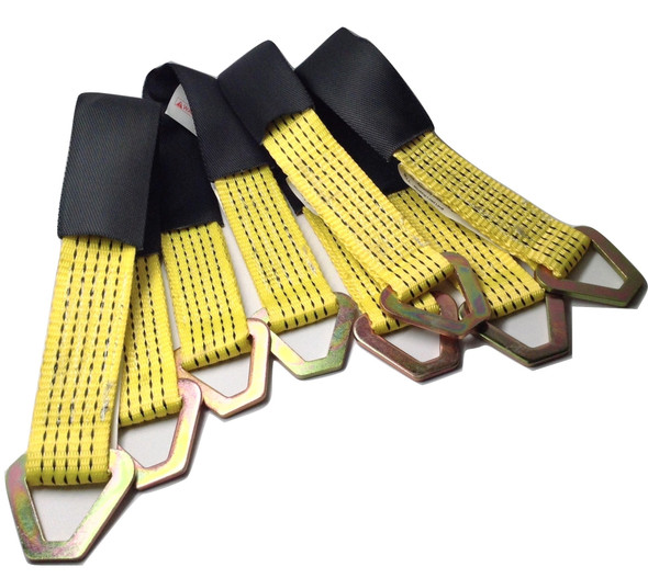 4 Ratchet Straps Car Hauler Trailer Auto Tie Down 4 Axle Straps Tow Kit Yellow Image2