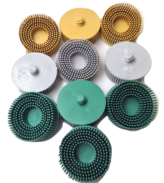 "AK Garage Tools 10pc Ceramic Bristle Disc 2"" Assortment - (4) 50 Grit, (3) 80 Grit, (3) 120 Grit Image1"