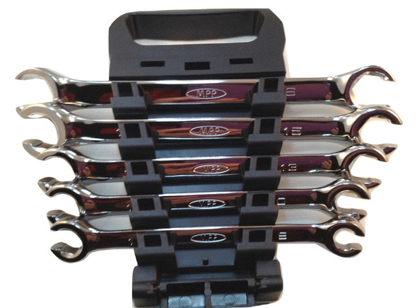 AK Garage Tools 5pcs SAE 6 Point Flare Nut Wrench Set w/Wrench Organizer Case Image2