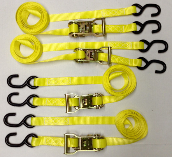 "4pc - 1""x10' Heavy Duty Ratcheting Tie Down Set - Yellow"