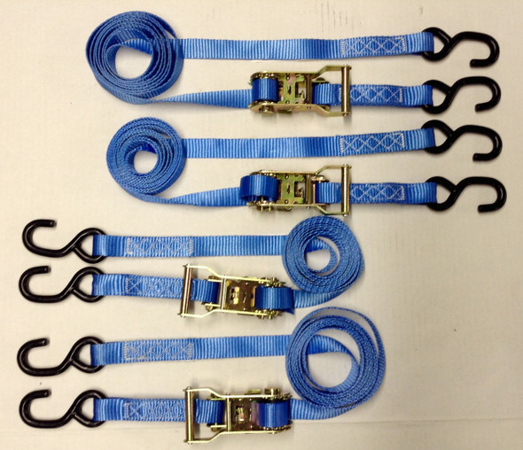 "4pc - 1""x10' Heavy Duty Ratcheting Tie Down Set - Blue"