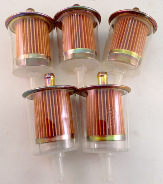 "5pc 3/8"" Universal Fuel Filter Set Industrial High Performance Inline Gas Fuel Line"