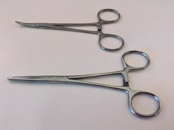 """2pc 5"""" & 5.5"""" Curved & Straight Hemostat Forceps Clocking Clamps Stainless Steel"""