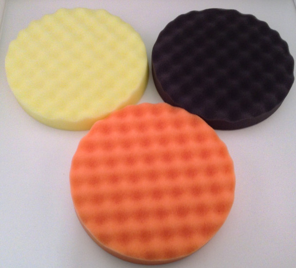 "6"" Waffle Foam Buffing Pads Set of 3 Finishes (Fine, Coarse and Finishing)"