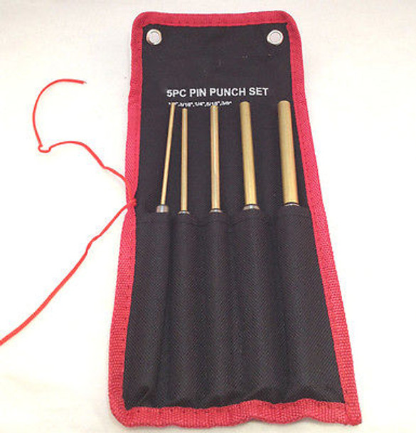 5pc Brass Drive Pin Punch Set w/Storage Pouch with Individual Slots
