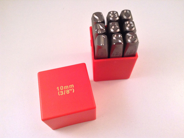 "9pc 3/8"" 10MM Number Stamp Punch Set Hardened Steel, Metal Wood Leather"