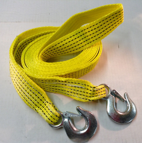 """2""""x20' Tow Strap Rope w/ Hooks Emergency Towing Strap 10,000 lb - Yellow"""
