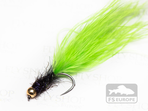 Black & Green Spectra Marabou Leech - Gold Bead