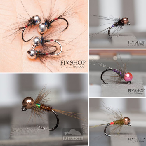 FS Europe River Nymph Set Small - Top Grayling (30 Flies, 5 Patterns, Free Box), fishing fly selections, fishing fly sets