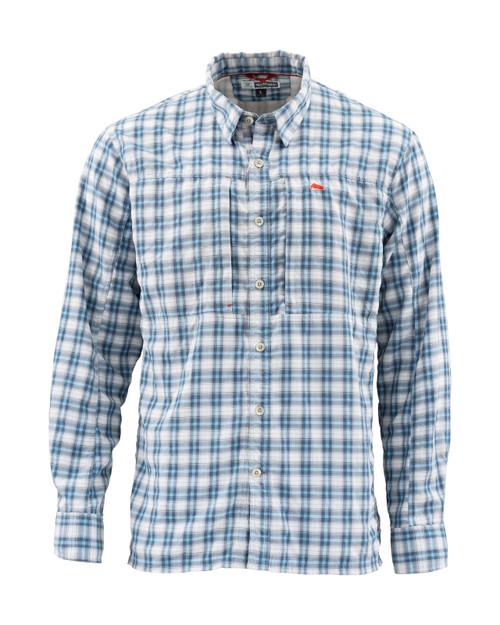 Simms BugStopper Shirt Plaid Faded Denim Plaid