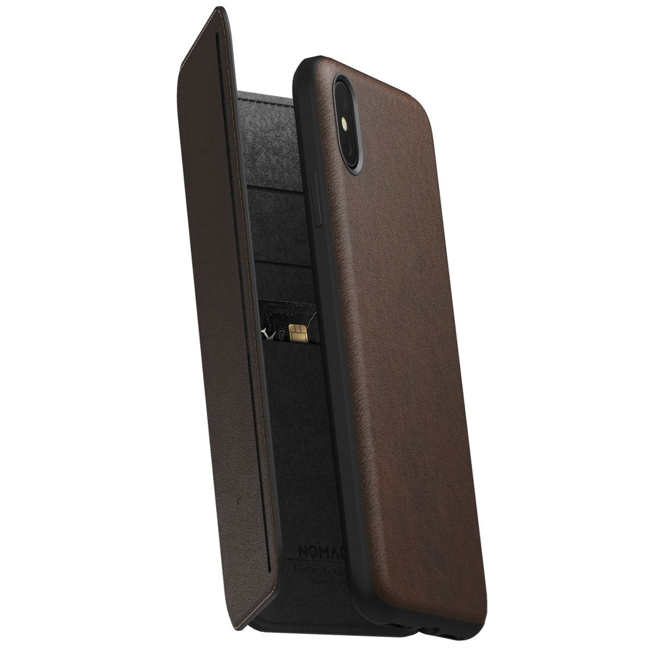 new product 2adac c3080 Nomad Horween Leather Rugged Tri-Folio Case iPhone Xs Max - Rustic Brown
