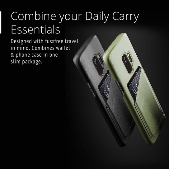 sports shoes 29845 24a12 Mujjo Full Leather Wallet Case for Samsung Galaxy S9 - Olive